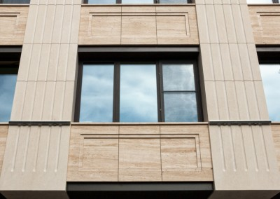 "Окачена фасада с травертин и варовик жилищна сграда ""ЕЛЕМАГ Дипломат"""